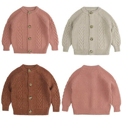 Children Baby Kids Girl Boy Knitted Sweater Sewing Cardigan Tops Outfit Colorfu