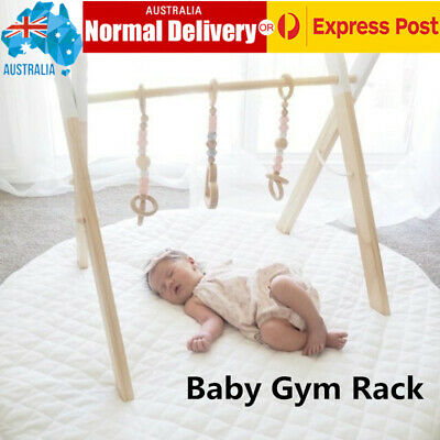 Wooden Baby Gym Rack Foldable Activity Hanging Bar Kid's Fitness Frame Toy AU