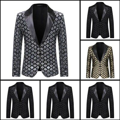 Party Coat Shining Business Formal Blazer Sequins Suit Club Wear Mens Jacket