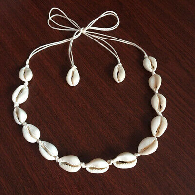 2Pcs Women Retro Cowrie Shell Pendent Necklace Chain Vintage Rope Choker Jewelry