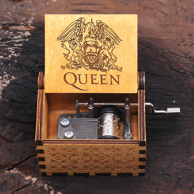 Hot Wooden Hand Crank Queen Music Box Bohemian Rhapsody Theme Game