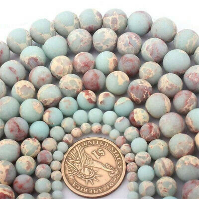 "1X Round Matte ShouShan Jasper Stone Spacer Loose Bead for Jewelry Making 15""DIY"