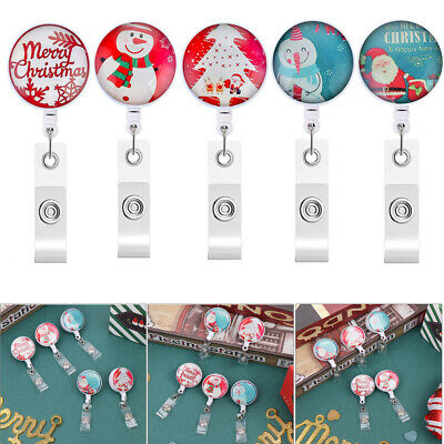 Clip Retractable ID Name Card Christmas Style Badge Holder Key Ring Lanyards