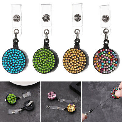 Retractable Bling ID Name Card Key Ring Badge Holder Lanyards Anti-Lost Clip