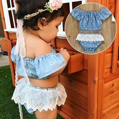 Baby Girls Blue Jeans Lace Floral Outfits Clothes Tops T-shirts Pants Suit