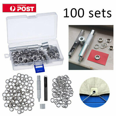 100 Metal Eyelets Grommets with Installation Tools Kit Craft DIY Accessories Set