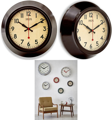Brown Metal Wall Clock, Smiths Dial - 25.5cm