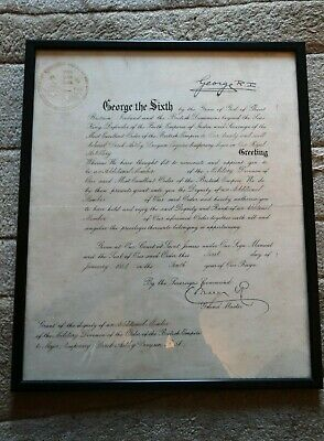 1946 New Year Honours (MBE) Letter from King George VI - Military Document