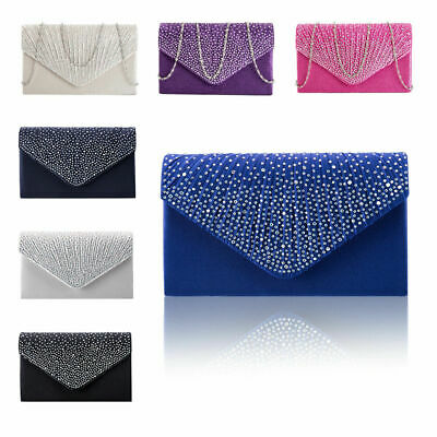 Women Silver Glitter Diamante Clutch Bag Ladies Evening Party Prom Handbag Purse