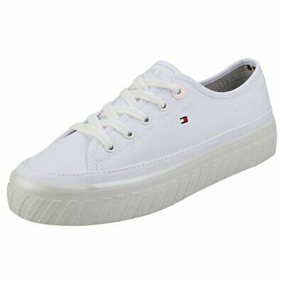 Tommy Hilfiger Outsole Detail Womens White Textile Flatform Trainers