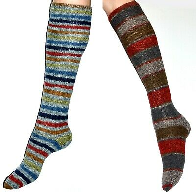NEW Hand Knitted Soft Wool Women Knee High Socks Size 6-8 Choose Color