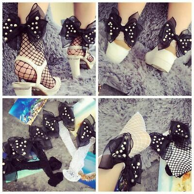 Thin Mesh Women Ankle High Fishnet Stockings Lace Pearl Bowknot Ruffle Socks