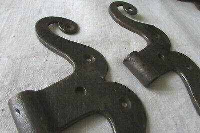 Antique French Large Pair Hand Forged Heavy Iron Moustache Barn Door Hinges 1780