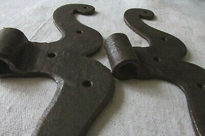 Antique French Small Pair Hand Forged Heavy Iron Moustache Barn Door Hinges 1780