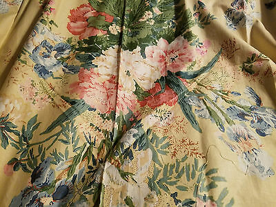 """Material Yellow 46"""" x 48"""" wide Panel Cotton Big  Cream Red Blue Pink Flowers"""