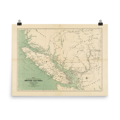 Old Vancouver Island Map (1892) Vintage British Columbia Atlas Poster