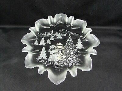 Mikasa Christmas Story Footed BonBon Dish Candy Dish Clear Frosted Glass
