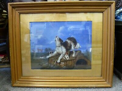 Antique unusual Framed Oil board Dog & Puppies The Rescue Old Gold wood frame