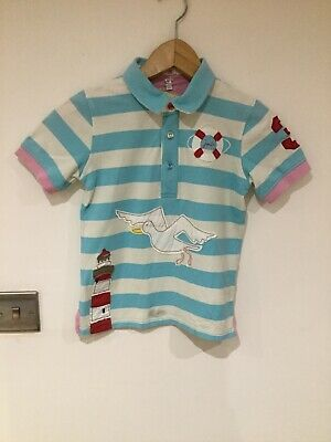 Joules Girls Polo T-shirt White & Blue Striped Pink Edging Size 7 Years