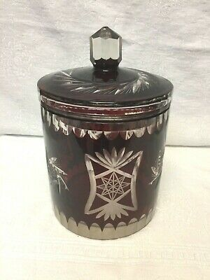 Antique Czech BOHEMIAN RUBY RED CUT TO CLEAR Lidded Biscuit Jar Ice Bucket Vtg
