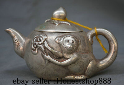 "6"" Marked Old China Silver Dynasty Monkey Handle Peach Teapot Teakettle Pot"