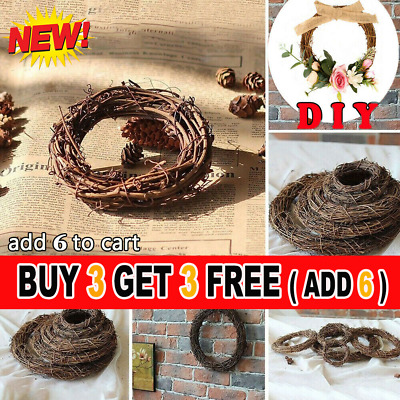 Christmas Artificial Vine Ring Wreath Rattan Wicker Garland Xmas Party Decor HH