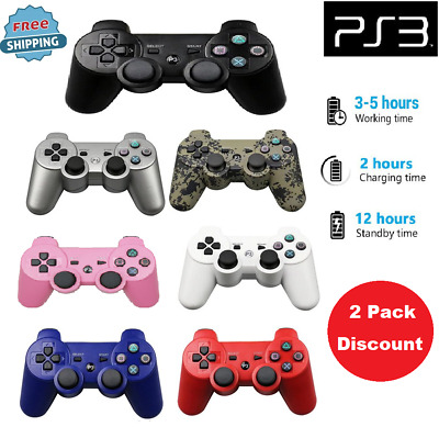 Wireless Bluetooth Dualshock For SONY PS3 Controller For Play Station 3 2 Pack