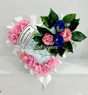 Artificial Silk Funeral Heart Wreath Tribute Flower Memorial Rose Mum Nan