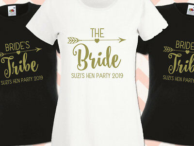 Hen Party T Shirts Brides Tribe Personalised Custom Gold Print Hen Do T-Shirts