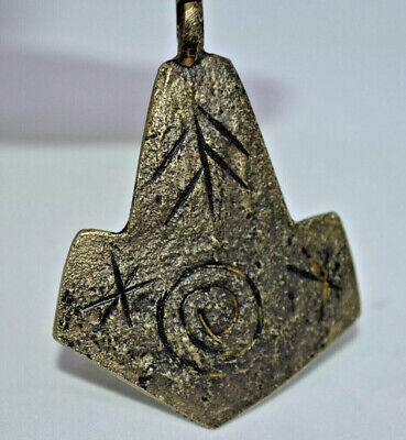 Scarce UNIQUE STYLE Ancient Viking Norse Scandinavian Thor's Hammer Amulet