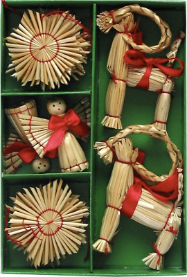 Scandinavian Swedish Norwegian Danish Straw Christmas Ornaments 16 pc box