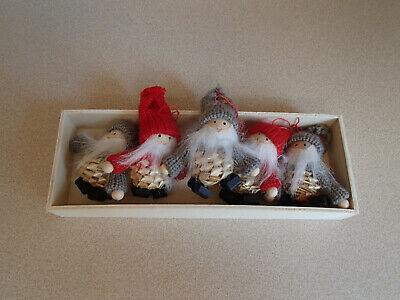 Scandinavian Swedish Norwegian Danish Straw Christmas Ornaments 5 Gnomes