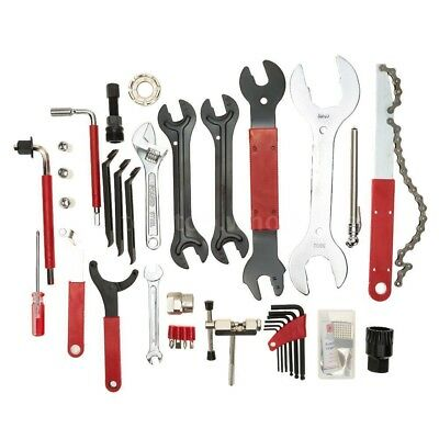 46Pcs Multi-Functional Complete Bicycle Repair Tool Kit with Box Valve Wrench