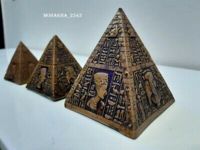 Ancient Egyptian primitive 3 pyramids stoneware antique curved with Egypt kings