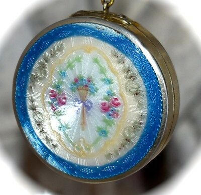 PRETTY Antique F&B Floral FOSTER & BAILEY Sterling & ENAMEL GUILLOCHE COMPACT