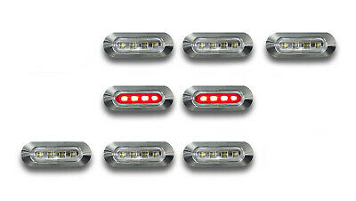 8 x LED RED REAR SIDE MARKER LIGHTS REMOVE CHROME BEZEL TRUCK BUS TRAILER LORRY
