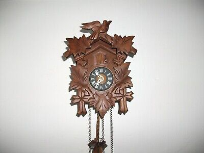 Vintage Wooden Cased Cuckoo Clock - Twin Weight
