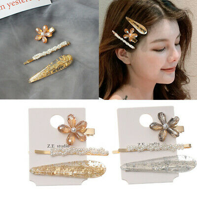 Pearl Hair Clips Crystal Hairclips Geometric Alloy Hairpins Bobby Pin Barrette~.