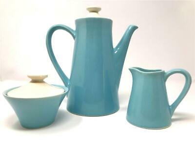 Cronin Cameron Clay Products USA Pottery MCM Turquoise Coffee/Creamer/Sugar Set