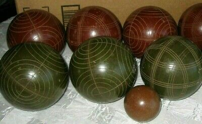 Vintage Sportcraft Bocce Ball Set - Made In Italy - 7 Balls + 1 Pallino - Used
