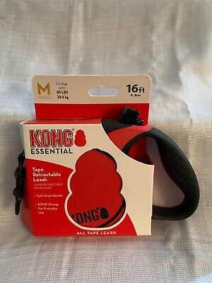 NEW!! KONG 16' Essential Retractable Tape Leash max 65lbs (MED RED)