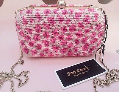 Genuine JUICY COUTURE Beaded Bag BNWT NEW Tags Pink leopard print Clutch Evening