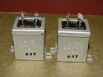 Pair, Western Electric Type AG-6 Condensers, .001 MFD, Good, 1937