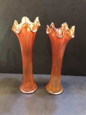 CARNIVAL Glass Vases - Pair- Marigold