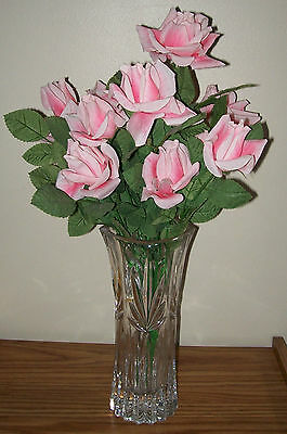 13 Beautiful PINK ROSES SILK Flowers Bouquet Centerpiece - Vase excluded