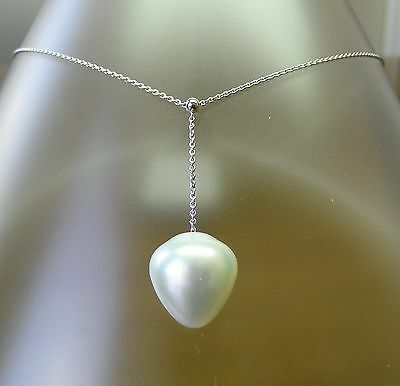 16.1mm! WHITE AUST SOUTH SEA PEARL 100% UNTREATED+18 ct WG NECKLACE SLIDER +CERT