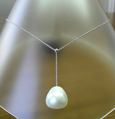 15.6mm! WHITE AUST SOUTH SEA PEARL 100% UNTREATED+18 ct WG NECKLACE SLIDER +CERT