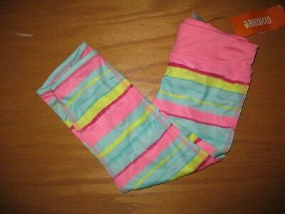 NWT Gymboree Gymgo Size 5-6 Pink Blue Striped Cropped Active Leggings