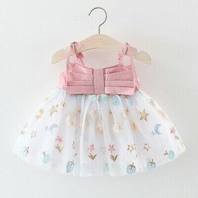 Toddler Baby Kids Girls Strap Tulle Print Dress Princess Clothes  Sweet  Dresses