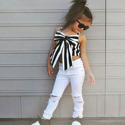 Bowknot Strapless White Trousers Clothing  Suit Stripe Girls Sets Tops + Pants
